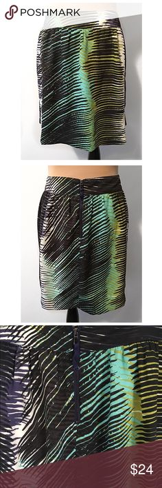 • LOFT • A-line skirt from loft has a lightly gathered banded waist, exposed back zipper and vibrant abstract leaf print. 100% polyester, lined. LOFT Skirts