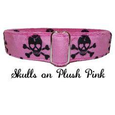 Black Skulls on Plush Pink  Adjustable Dog by LuigisFineDogCollars