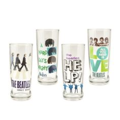 The Beatles Collection 4 Pc. 10 oz. Glass Set - Toast to the Fab Four with this collection of poppy, cartoon-inspired artwork from The Beatles. The Beatles Collection 4 Pc. 10 oz. Glass Set is perfect for company for just kickin' back at home.