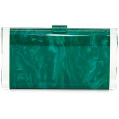 Edie Parker Lara Backlit Acrylic Clutch Bag (7.930 DKK) ❤ liked on Polyvore featuring bags, handbags, clutches, green, lucite handbags, blue clutches, green clutches, green purse and edie parker clutches