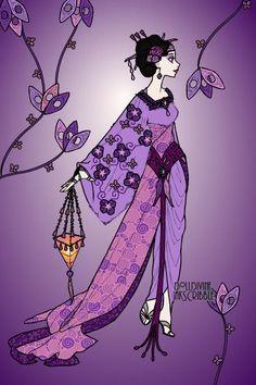 Purple geisha ~ by Trailblazr Purple Love, Purple Rain, Doll Games, Mediums Of Art, Doll Divine, Dress Up Dolls, Find Color, Horror, Passion