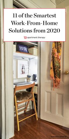 Whether or not you foresee yourself working from home more in 2021, the ideas in this roundup will inspire you to take stock of your own at-home work and craft spaces. Small Space Office, Home Office Space, Home Office Design, Small Spaces, Office Designs, Office Spaces, Fold Down Desk, Office Nook, Legitimate Work From Home