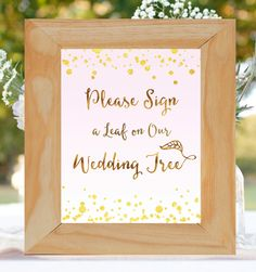 """Please Sign Our Wedding Tree- INSTANT DOWNLOAD~ Printable Digital File- 8x10"""", 5x7"""", Blush and Gold DIY Wedding~ """"Gilded Blush"""" Sign a Leaf by FoxyPrintables on Etsy"""