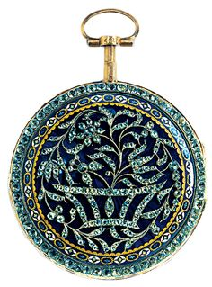 A circa 1770 pocket watch with works by Pierre Viala, Geneva. The exterior features gold, silver, diamonds, glass, and enamels.