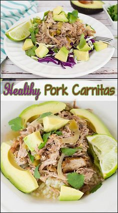 Healthy Pork Carnitas can be served as a taco, over rice, or even salad. Toppings of fresh lime juice, avocado, & cilantro add to the deliciousness. Healthy Meat Recipes, Pork Recipes, Mexican Food Recipes, Easy Recipes, Mexican Dishes, Delicious Recipes, Spanish Dishes, Light Recipes, Amazing Recipes