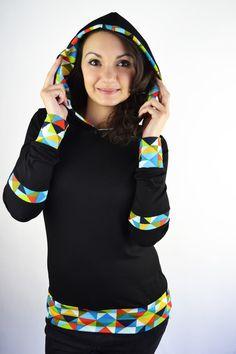 Longsleeves - schwarzes Longsleeve mit Kapuze - ein Designerstück von JAQUEEN-handmade-streetwear-berlin bei DaWanda