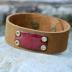 great leather, enamel wrist band