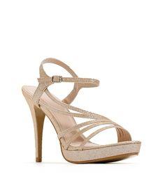 Champagne Strappy Glittery Heels