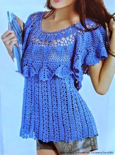 Horgolás minták: Kék blúz