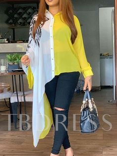 Asymmetric Color Block Long Sleeve Long Blouse Shirt Yellow White Plus Size Sexy Transparent Oversized Women Tops Fall Stylish Dress Designs, Stylish Dresses, Stylish Dress Book, Indian Fashion Dresses, Fashion Outfits, Kurti Designs Party Wear, Long Blouse, Classy Dress, Look Fashion