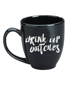 A cheeky Halloween phrase stamped on a large bistro mug makes the perfect gift for your favorite witch. Ceramic 15 oz Microwave and Dishwasher Safe
