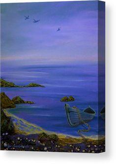 Coastal Art Print featuring the painting Seaside Boat by Faye Anastasopoulou Fine Art Posters, Boat Art, Thing 1, Boat Painting, Coastal Art, Stretched Canvas Prints, Seaside, Fine Art America, Wall Art Prints