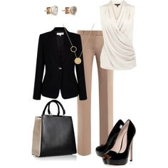 Love the wrap front white sleeveless blouse and the neutral palette.  Just need lower heels!