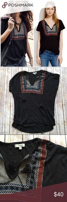 Madewell Embroidered Tassel Sweater Beautiful & breezy! This Madewell Embroidered Tassel Sweater features an easy fit, intricate vintage-inspired embroidery, and a tasseled tie neck. Lightweight. 55% linen, 45% cotton. A bit linty but otherwise in great pre-loved condition with plenty of life left!  🌟SUGGESTED USER 🚫NO TRADES 🚫NO MODELING ✅DOG FRIENDLY 🐶, 🚭 SMOKE FREE HOME ✅I 💗 REASONABLE OFFERS 🔵 PLEASE USE OFFER BUTTON!  ❓ASK IN THE COMMENTS!   🔹🔹🔹BUNDLE 2+ ITEMS & SAVE!!!🔹🔹🔹…