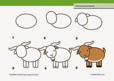 kerajinan anak SD/paud, cara & langkah menggambar kambing