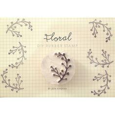 Hand-carved rubber stamp, floral ||| DIY, planner, stationery