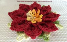 Flor natalina passo a passo - http://www.croche.com.br/flor-natalina-passo-a-passo/