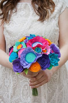 Felt Flower Wedding Bouquet Peacock Garden por SugarSnapBoutique