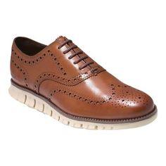 35226481555 Men's Cole Haan ZEROGRAND Wingtip Oxford - British Tan Leather Oxfords  Cheap Mens Fashion, Fashion