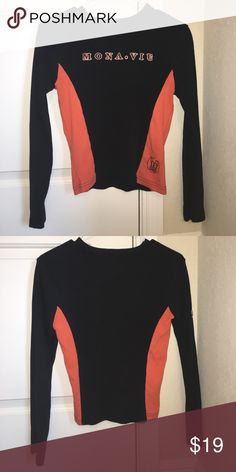 """Mona vie"" sweatshirt >light sweatshirt >orange and black > kinda cropped (if you have a longer torso) >super comfy unknown Sweaters Cowl & Turtlenecks"