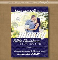 christmas save the date ideas | save the date christmas card, marry little christmas, chevron ...