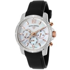 Swiss Legend Legasea Diamond Multi-Function Black Silicone MOP Dial... ($180) ❤ liked on Polyvore featuring jewelry, watches, black, diamond jewelry, buckle watches, swiss legend watches, skeleton watches and leather-strap watches