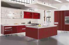 Modern Kitchen Designs Red    more picture Modern Kitchen Designs Red please visit www.infagar.com