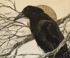 Etching by Beki Killorin  What a strong impression this crow makes against the other birds in the background!