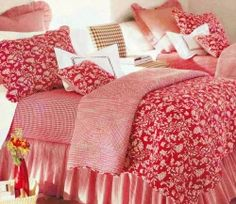 French Country Romantic Floral Red Toile Quilt - Bella Home Fashions, 136.50