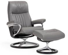 Shop for the Stressless by Ekornes Crown Large Chair & Ottoman with Signature Base at Conlin's Furniture - Your Montana, North Dakota, South Dakota, Minnesota, and Wyoming Furniture & Mattress Store Leather Recliner Chair, Swivel Recliner, Chair And Ottoman, Recliners, Recliner Chairs, Sofas, Large Chair, Lounge Chair Design, Stress Less