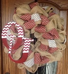 burlap wreath chevron - Google Search