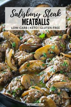 These Salisbury Steak Meatballs are a great low-carb gluten-free dinner that is full of flavor! Baked to perfection, then folded into the most delicious mushroom and onion sauce. #TasteAndSee Roast Meat Recipe, Potted Meat Recipe, Roast Recipes, Grilled Prime Rib, Recipes Using Ground Beef, Salisbury Steak Meatballs, Slow Cooker Italian Beef, Dinner Ideas, Dinner Recipes