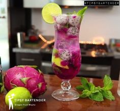 Dragon Fruit Mojito - For more delicious recipes and drinks, visit us here: www.tipsybartender.com