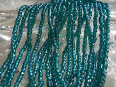 Size 9/0 Three Cut-Tri Cut Transparent Dark EMERALD Teal GREEN LUSTER-Shiny Preciosa Czech Glass Seed Bead-2.6mm Rocaille-Strand/String-Hank by BodaciousRockz on Etsy