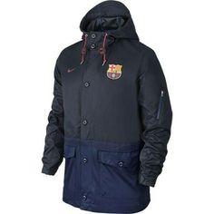 Men's Nike FC Barcelona Saturday Soccer Hooded Jacket 689951-475 Size X/Large Fc Barcelona, Football Jackets, Men's Football, Canada Goose Jackets, Nike Men, Hoods, Hooded Jacket, Rain Jacket, Jackets