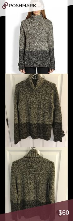 Vince color block cable turtleneck sweater Sz L Cute sweater by Vince in a size large.  Sweater is preowned and has only been worn a handful of times.  50% wool and 50% yak done in a loose cable knit pattern.  Great condition. Vince Sweaters Cowl & Turtlenecks