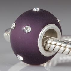 Kera Style Purple Murano Frosted Glass Bead with Clear Crystal February Birthstone 925 Sterling Silver Core Beads