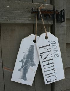 """Fishing sign. Wooden """"gone fishing"""" hanging tags. Distressed, rustic cottage or home decor."""