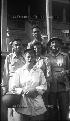 Manila, Philippines - December 25, 1944: U. S. and Filipino nurses at the Philippine Civil Affairs Unit #1. Unit later became the National Orthopedic Hospital ~
