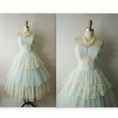 50's Prom Dress // Vintage 1950's Embroidrered by TheVintageStudio, $172.00