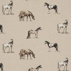Chevaux linen oilcloth in Linen Hard wearing Matt finish on a woven linen backing The second image is to give an idea of the scale of the pattern It