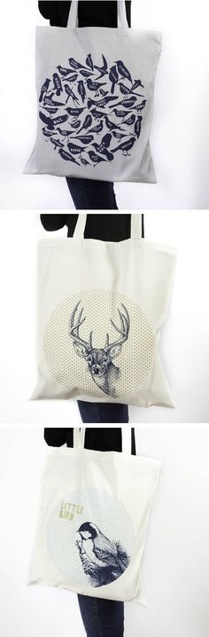 Particle Press and the Thousand Paper Cranes Shop, Bird Spotting Tote Bag Print