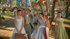 Fashion In Film: The Pajama Game 1957 costumes. (My dress looks like the blue one with a low V-Neck!)