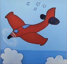 """""""Avión rojo con hélice"""" // 20 x 20 x 3,5 cm // Gouache (pintura al agua) sobre lienzo // Bastidor pintado (no requiere marco) // Obra original, pintada a mano **55,00 € ** Más información en el tablero """"Mankel: venta y contacto"""""""