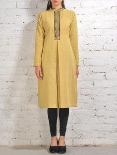 Buy Yellow Black Malkha Kurta With Zari Placket And Box Cotton Silk Online at Jaypore.com