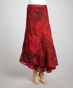 Look what I found on #zulily! Red Patchwork Reversible Wrap Skirt #zulilyfinds