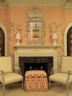 Peach DeGournay paper. Available through InteriorDesignerShowroom.com love the stool