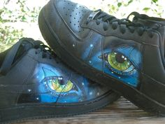 These shoes have been worn by my son all summer. We found them at resale, Nike Air! painted the Avatar eyes. So you are seeing well worn Shoes! Painted Converse, Painted Shoes, Crazy Shoes, On Shoes, Everyday Shoes, Custom Vans, Nike Air, Dance Shoes, Sneakers Nike