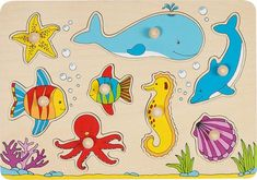 GoKi Wooden Underwater World Puzzle Toddler Toys, Kids Toys, Activity Toys, Activities, World Puzzle, Educational Toys For Toddlers, Kiesel, 2 Year Olds, Underwater World