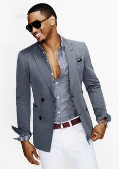 Trey Songz - slim fit grey blazer, pinstripe shirt, white pants and brown belt for contrast. Love the fit.